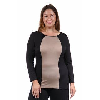 24/7 Comfort Apparel Women's Plus Size 2-Tone Tunic|https://ak1.ostkcdn.com/images/products/10695003/P17756805.jpg?impolicy=medium