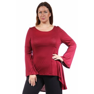 24/7 Comfort Apparel Women's Plus Size Stitch Decal High-Low Tunic