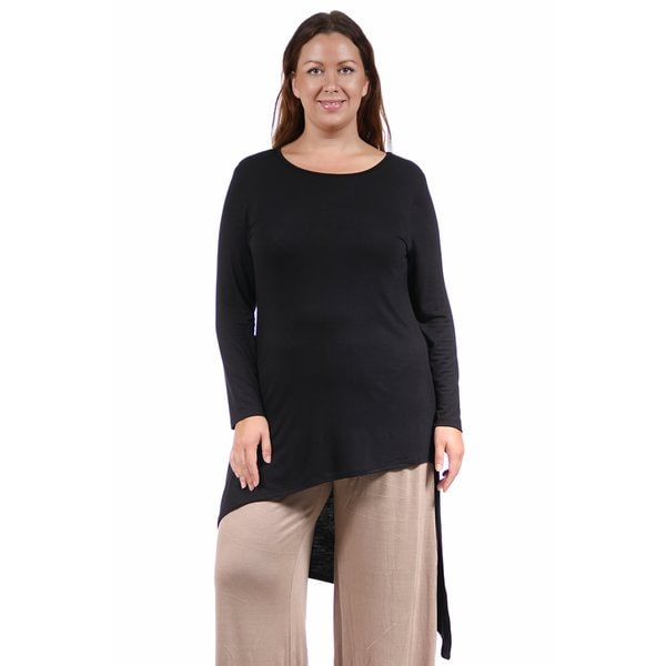 24/7 Comfort Apparel Women's Plus Size Extra Long Diagonal Sweep Tunic. Opens flyout.