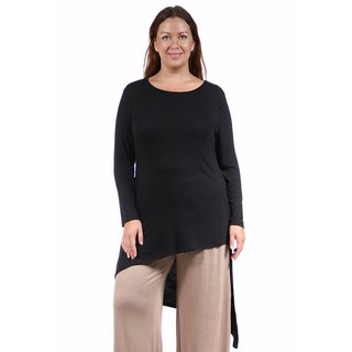 24/7 Comfort Apparel Women's Plus Size Extra Long Diagonal Sweep Tunic (More options available)