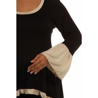 24/7 Comfort Apparel Women's Plus Size Two-Tone Ruffled Tunic