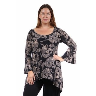 24/7 Comfort Apparel Women's Plus Size Autumn Floral Printed High-Low Tunic