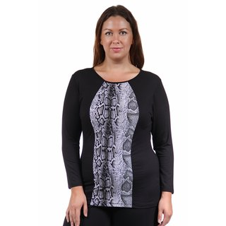 24/7 Comfort Apparel Women's Plus Size 2-Tone Snakeskin Printed Tunic