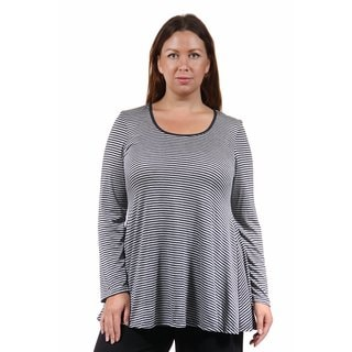 24/7 Comfort Apparel Women's Plus Size Striped Tunic Top