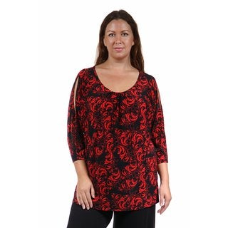 24/7 Comfort Apparel Women's Plus Size Abstract Red&Black Printed Tunic