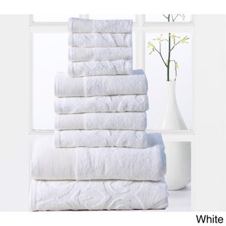Elegance Spa Cotton 600 GSM Jacquard 10-piece Towel Set (2 options available)