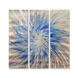 "Ash Carl ""Blue Pinwheel"" Metal Wall Art Sculpture"