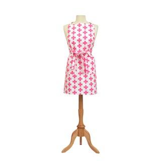 Pink and White Crosses Retro Print Cotton Butcher's Apron