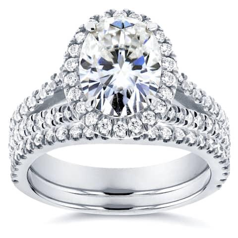 Annello by Kobelli 14k White Gold 2 1/5ct TGW Moissanite and Diamond Oval Halo Split Shank Bridal Rings Set (2pc Set)