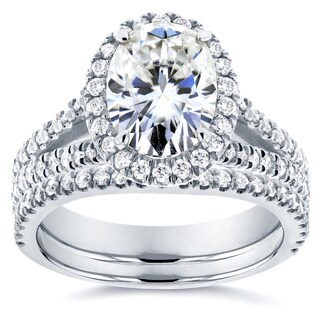 Annello by Kobelli 14k White Gold 2 1/5ct TGW Moissanite and Diamond Oval Halo Split Shank Bridal Rings Set (2pc Set)