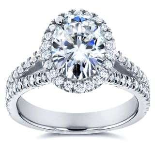 Annello by Kobelli 14k White Gold 2ct TCW Oval Moissanite and Diamond Halo Engagement Ring
