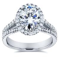 Annello by Kobelli 14k White Gold 2ct TGW Moissanite (HI) and Diamond Oval Halo Split Shank Engagement Ring