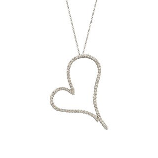 Kabella 18k White Gold 2ct TDW Diamond Heart Necklace (G-H, SI1-SI2)