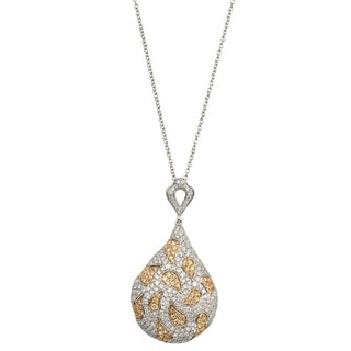 Kabella Luxe 18k White Gold 2 1/3ct TDW Pave White and Yellow Diamond Necklace (G-H, SI1-SI2)