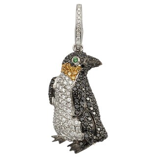 Kabella 18k White Gold 1 5/8ct TDW Black and White Diamond Penguin Necklace (G-H, SI1-SI2)