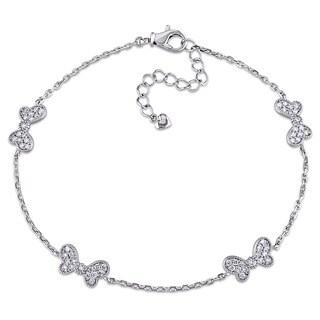 Miadora Signature Collection 18k White Gold 3/8ct TDW Diamond Station Butterfly Bracelet