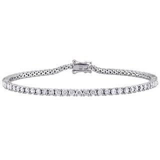 Miadora Signature Collection 10k White Gold 3ct TDW Diamond Tennis Bracelet (G-H, I2-I3)