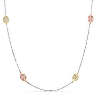 Miadora 14k Tri-color White Yellow and Rose Gold 1/5ct TDW Diamond Station Necklace (G-H, SI1-SI2)