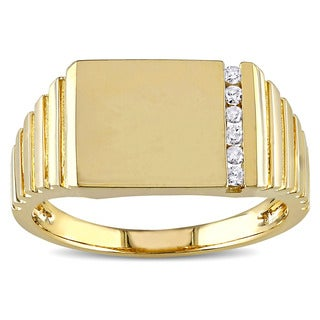 Miadora 10k Yellow Gold Men's 1/10ct TDW Diamond Ring (G-H, I2-I3)