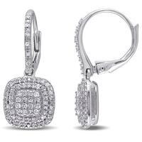 Miadora Sterling Silver 1/2ct TDW Diamond Composite Dangle Earrings