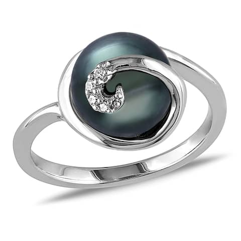 Miadora Sterling Silver Tahitian Pearl and Diamond Accent Cocktail Ring - Black