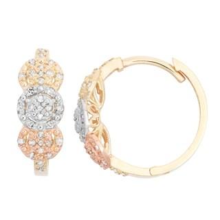Gioelli 10k Gold .33ct TDW Diamond Round Cut Hoop Cluster-set Earrings
