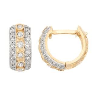 Gioelli 10k Gold .34ct TDW Diamond Round Cut Hoop Earrings
