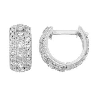 Gioelli 10k White Gold .34ct TDW Diamond Round Cut Hoop Earrings (I-J/I2)