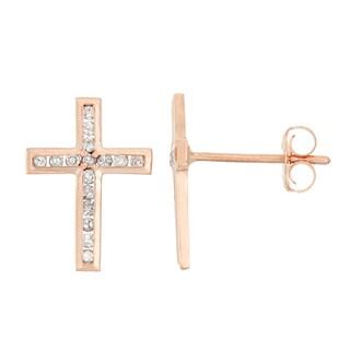 Gioelli 10k Rose Gold .16ct TDW Diamond Round Cut Cross Stud Earrings