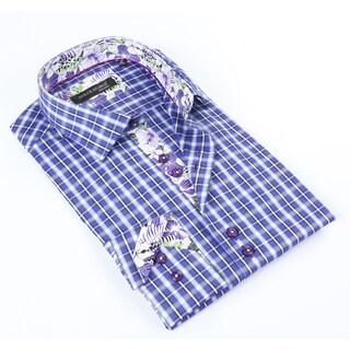 Dolce Guava Men's Purple Plaid Patterned Button Down Shirt