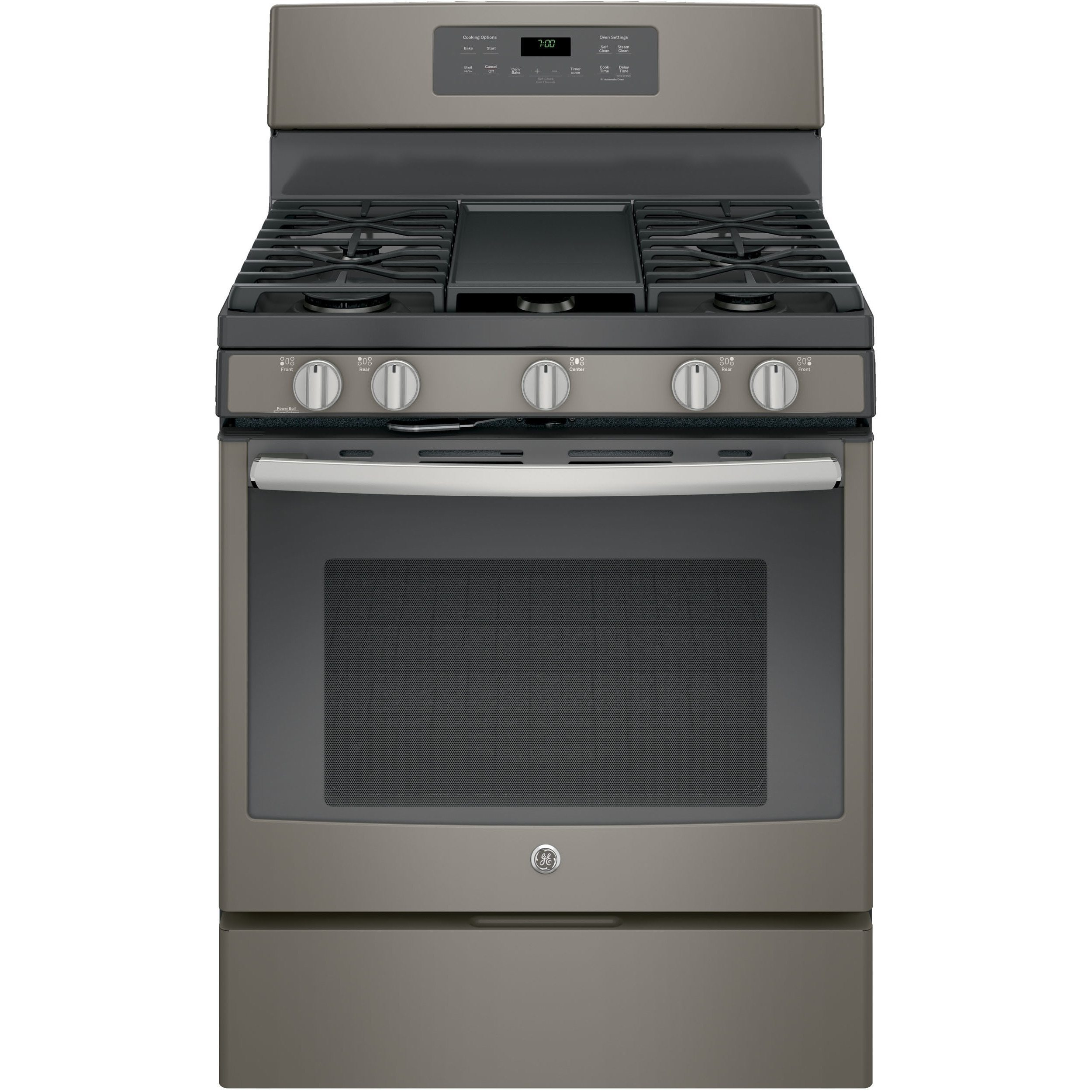 GE Black 30-inch Free-Standing Gas Convection Range (Stai...