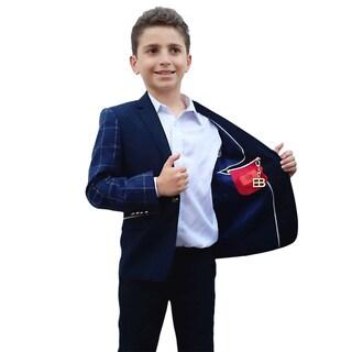 Elie Balleh Milano Italy Boys' Navy Pattern Jacket/ Blazer
