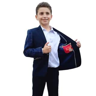 Elie Balleh Milano Italy Boys' Navy Pattern Jacket/ Blazer|https://ak1.ostkcdn.com/images/products/10695320/P17757086.jpg?impolicy=medium