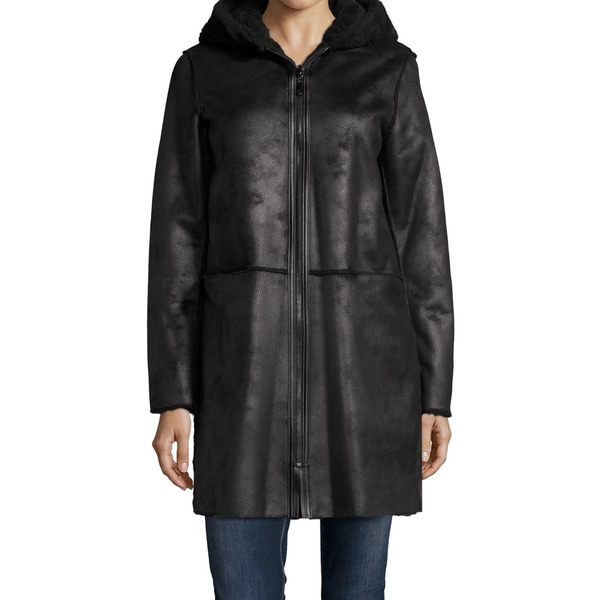 DL2 by Dawn Levy 'Teddy' Black Shearling Reversible Hooded Coat