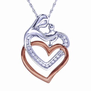 Bridal Symphony Sterling Silver with 14k Rose Gold Interlocking Heart Diamond Accent Necklace (I-J, I1-I2)