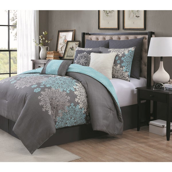 Avondale Manor Amber Piece Comforter Set Free Shipping Today - Blue and grey comforter sets