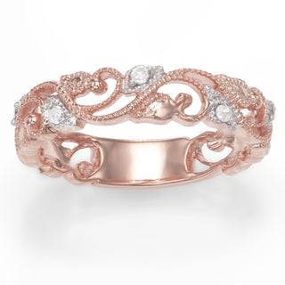 Sterling Silver plated Rose Gold 0.11 Cttw Diamond Ring