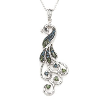 Sterling Silver 0.33 CTTW Blue and Green Diamond Peacock Necklace