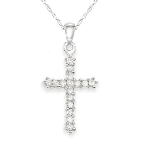 "10K White Gold 1/4 Cttw Diamond Cross Necklace - 9'6"" x 13'6"""
