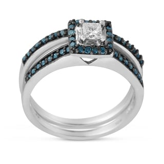 10K White Gold 1/2 CTTW Blue and White Diamond Bridal Ring Set