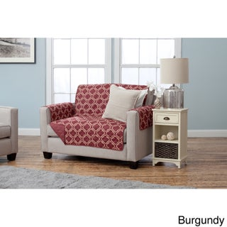 Home Fashion Designs Adalyn Collection Printed Reversible Love Seat Protector (Option: Burgundy)