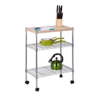 Honey-Can-Do chrome utility cart with wood top