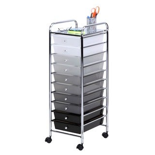 10 drawer shaded storage cart