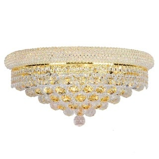 """French Empire 4 light Gold Finish and Clear Crystal Large Wall Sconce 20"""" W"""