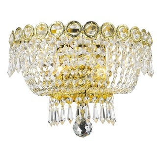 "French Empire 2 light Gold Finish and Clear Crystal Medium Wall Sconce 12"" W"