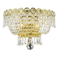 """French Empire 2 light Gold Finish and Clear Crystal Medium Wall Sconce 12"""" W"""