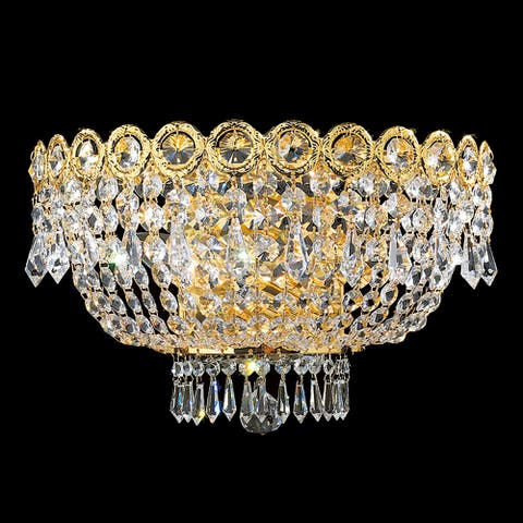 French Empire 3 Light 16 in. Gold FinishCrystal Wall Sconce Light Large