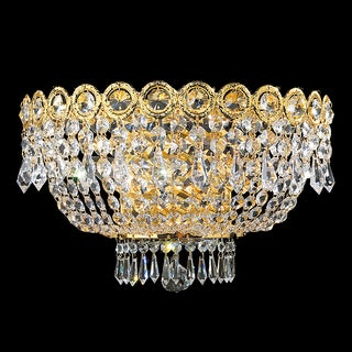 "French Empire 3 Light Gold Finish and Clear Crystal Large Wall Sconce 16"" W"