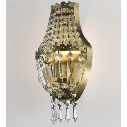 Metro Candelabra 3-light 8 in. Antique Bronze Finish Crystal Basket Wall Sconce Small