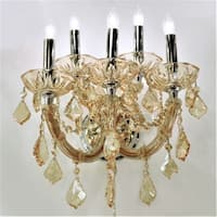 Maria Theresa Imperial 5-light Chrome Finish with Amber Crystal Wall Sconce